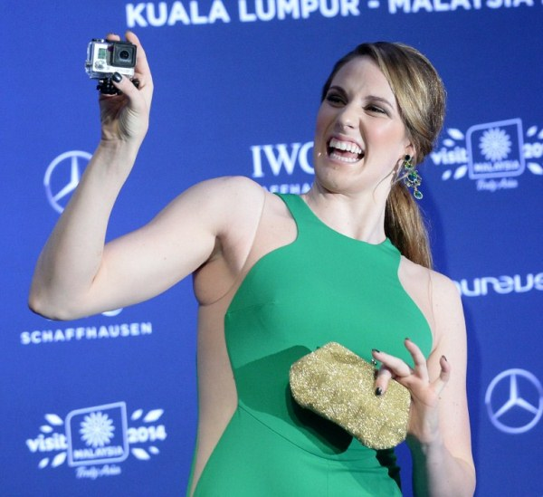 GORGEOUS: Laureus World Sportswoman of the Year Missy Franklin in a playful mood. AFPpic