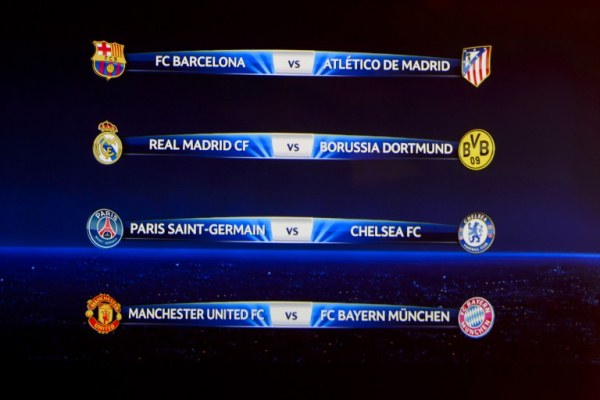 A television screen shows the draw for the quarter-finals of the UEFA Champions league at the UEFA headquarters in Nyon on March 21, 2014. Title-holders Bayern Munich will play Manchester United and Barcelona will take on Atletico Madrid in the star Champions League quarter-finals drawn today. Real Madrid drew Borussia Dortmund and Paris St German play Chelsea in the fourth quarter.  AFP PHOTO / FABRICE COFFRINI