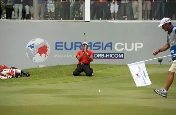 Nicholas Fung pictured during the singles action at the EurAsia Cup, presented by DRB-HICOM. Picture by PAUL LAKATOS/Asian Tour.