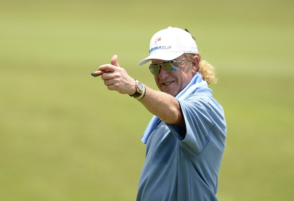I'M GUNNING FOR YOU: Europe captain Miguel Angle Jimenez pictured during the fourball action today. Europe lead Asia 5-0 in the EurAsia Cup. Picture by PAUL LAKATOS/Asian Tour