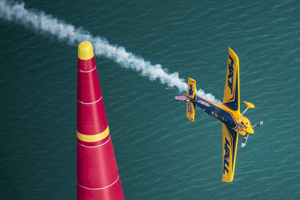 Matt Hall of Australia performs performs during the race for the first stage of the Red Bull Air Race World Championship in Abu Dhabi, United Arab Emirates on March 1, 2014. // Balazs Gardi/Red Bull Content Pool // P-20140301-00201 // Usage for editorial use only // Please go to www.redbullcontentpool.com for further information. //