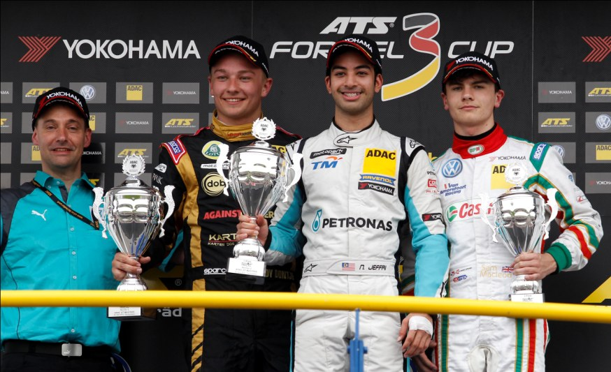 Nabil Jeffri from Team Motopark scored his first victory which alsomarked his first podium finish in the ATS Formula 3 Cup. Indy Dontje from Lotus finished second again, with Sam MacLeod from Van Amersfoort Racing grabbing third once more.
