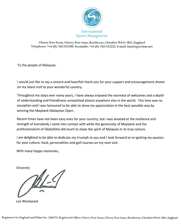 'Thank You' letter from Lee Westwood following his win at the Maybank Malaysian Open 2014