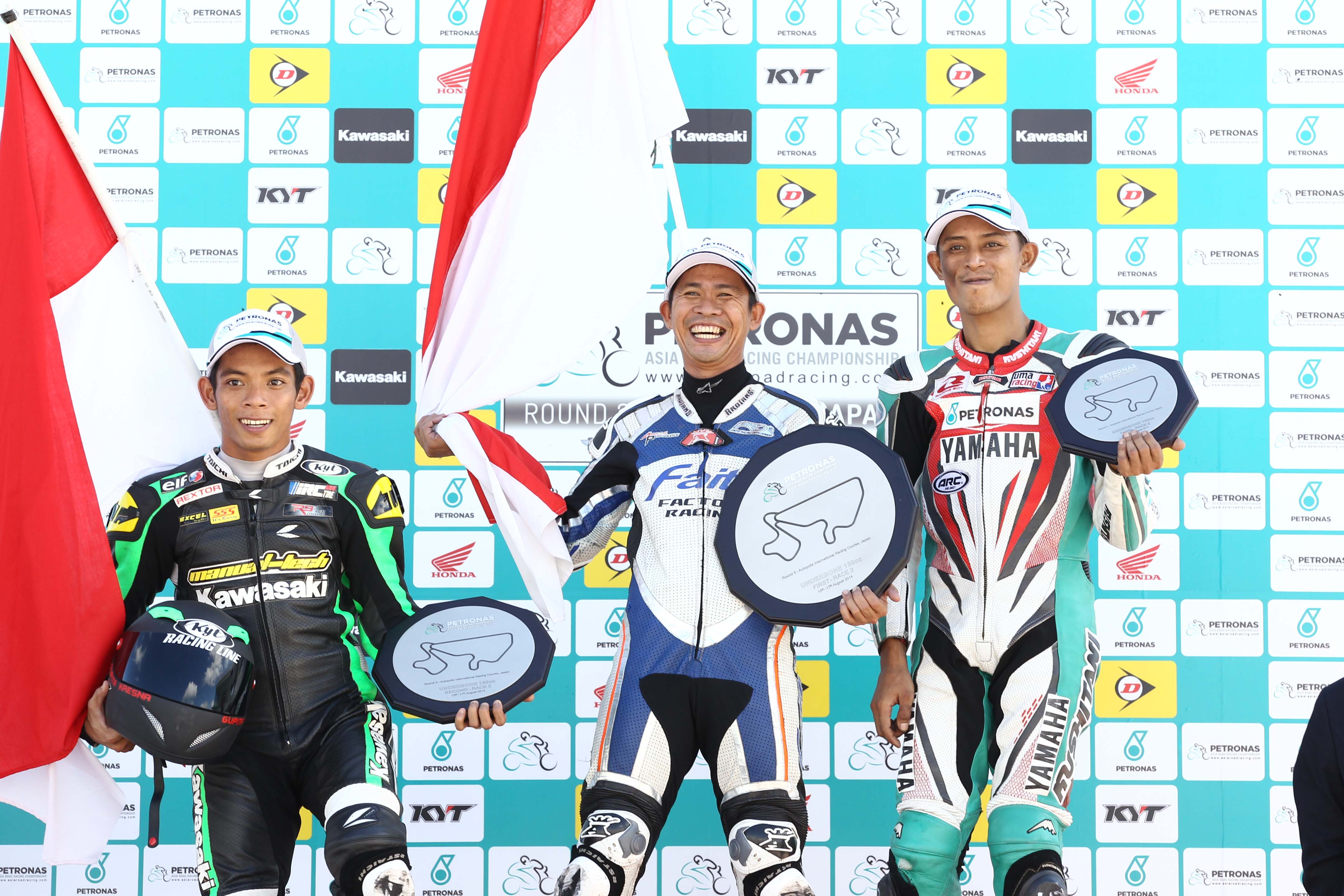 Ahmad Fazli Sham (far right) on the UB130 podium at Autopolis Japan last weekend.