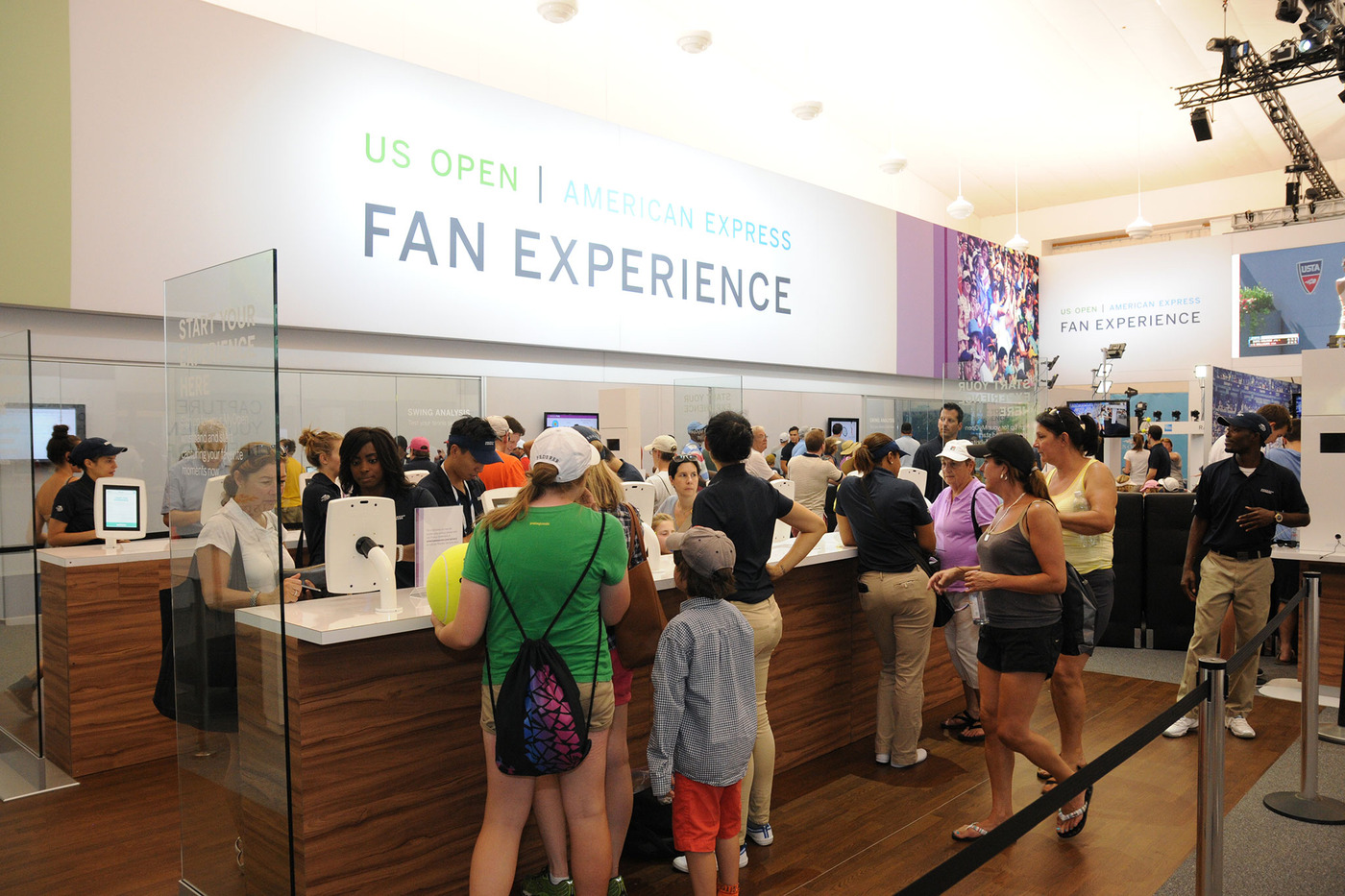 Besides matches, fans of all ages enjoy a wide variety of activities inside the American Express Fan Experience at the 2014 US Open. Photo Credit:  Mike Lawrence/usopen.org