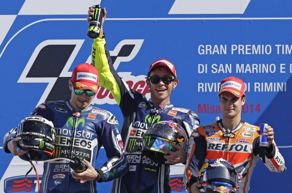 Italian MotoGP great Valentino Rossi won the San Marino Grand Prix for Yamaha on Sunday while Honda's runaway championship leader Marc Marquez suffered a rare spill and finished 15th.