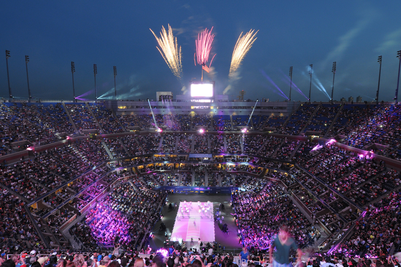 Fireworks go off during the Opening Night ceremonies of the 2014 US Open. - Photo Credit: Mike Lawrence/usopen.org