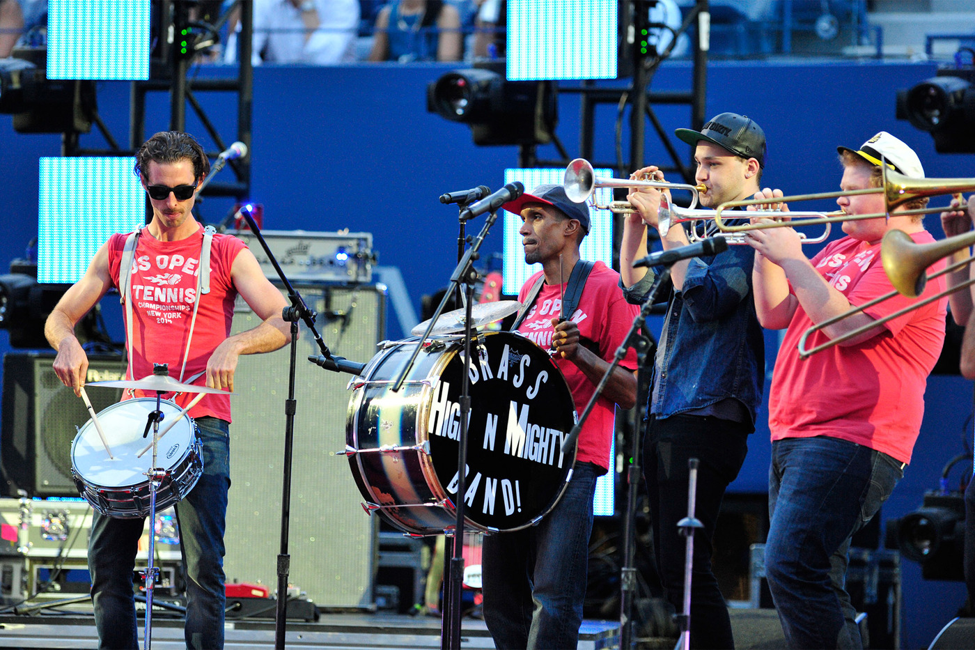 The High and Mighty Brass Band! performs during the Opening Ceremony on Arthur Ashe Stadium. - Photo Credit: Andrew Ong/usopen.org