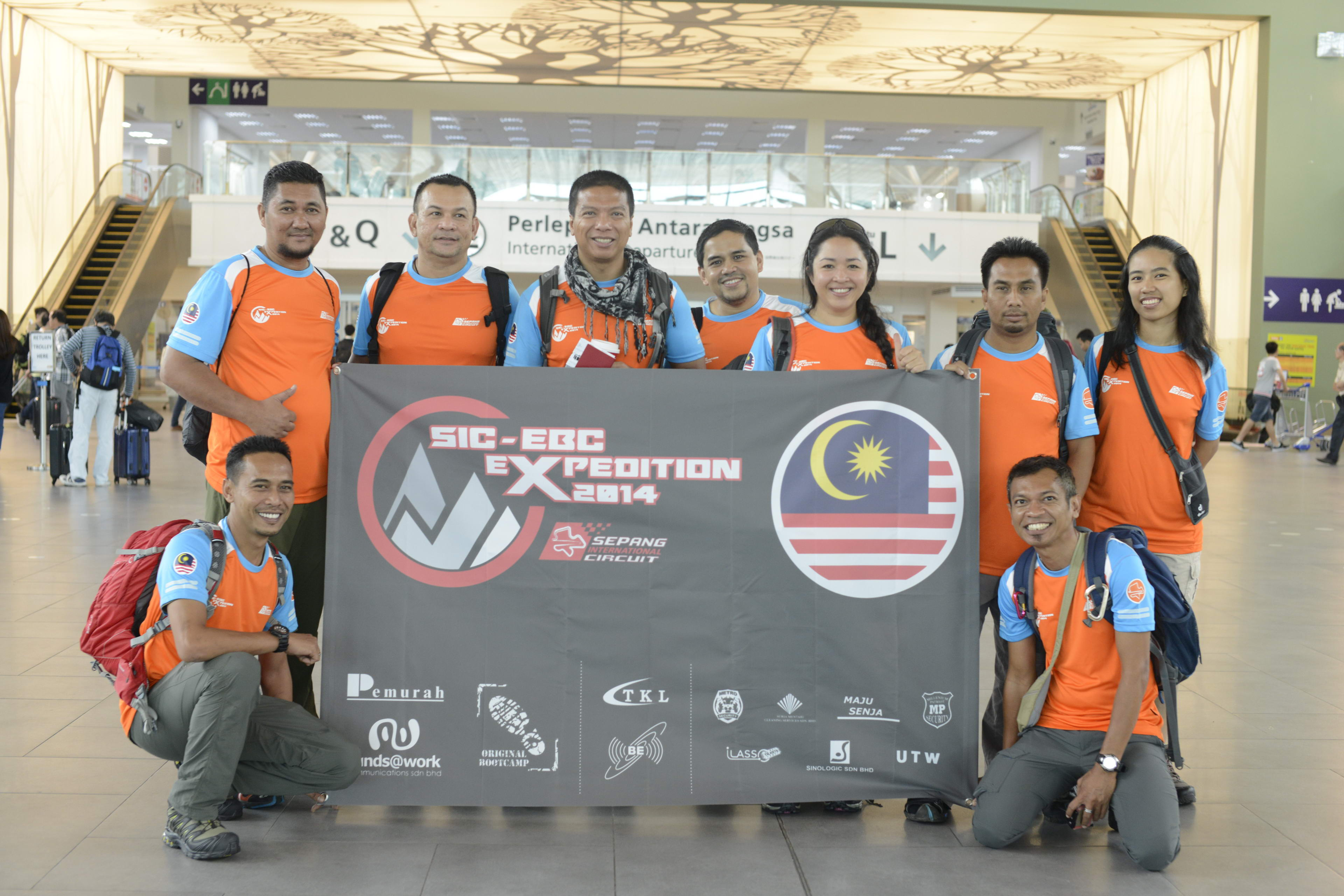 The Sepang International Circuit in high spirits as they gather at KLIA before flying off for their special expedition to the Everest Base Camp.