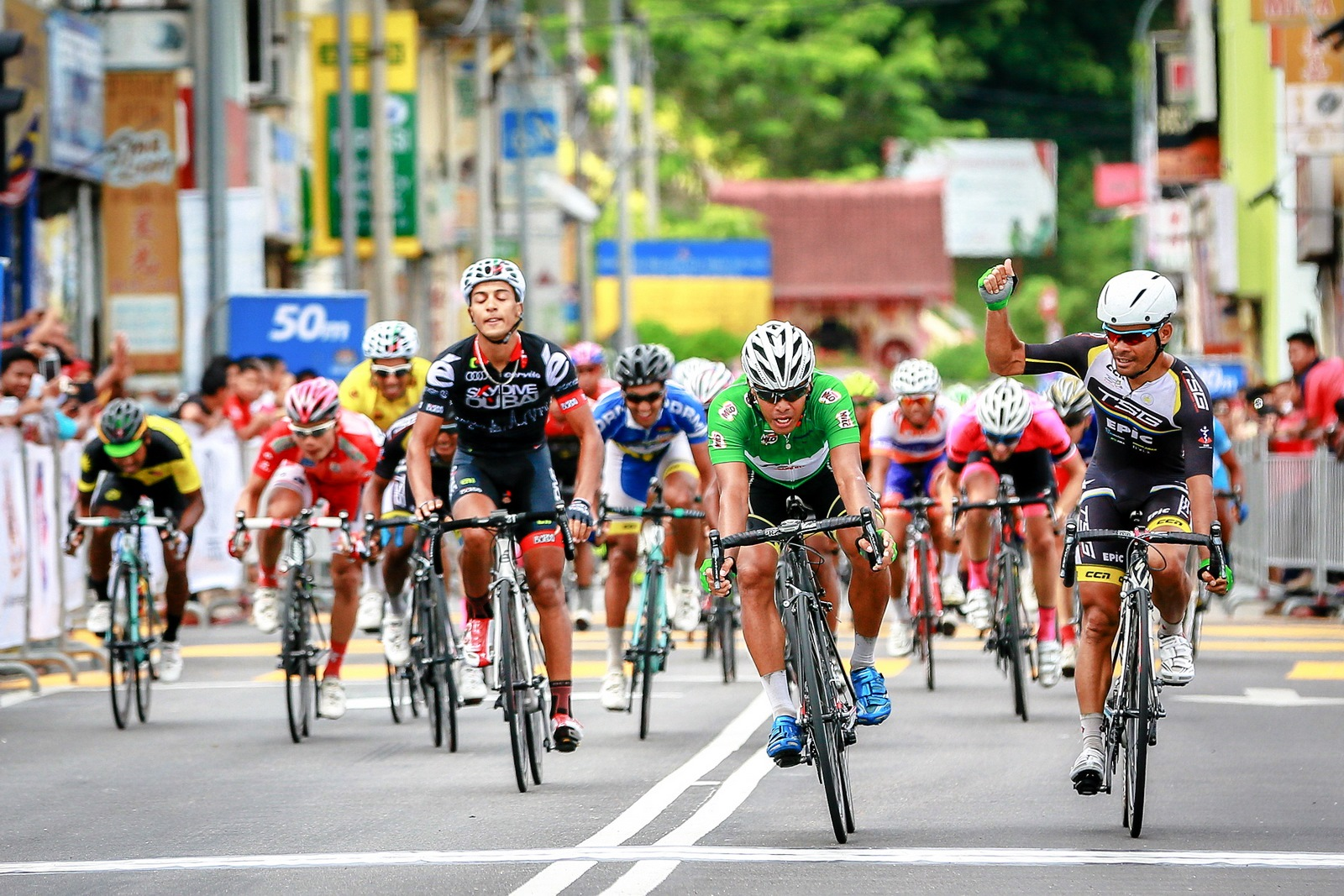 SkyDive Dubai Pro Cycling Team were the big winners in the 50th anniversary Jelajah Malaysia with their Tunisian rider c taking the yellow jersey with a total time of 18:45:54 although he finished 10th in the fifth and final stage in Kuala Klawang, Jelebu.