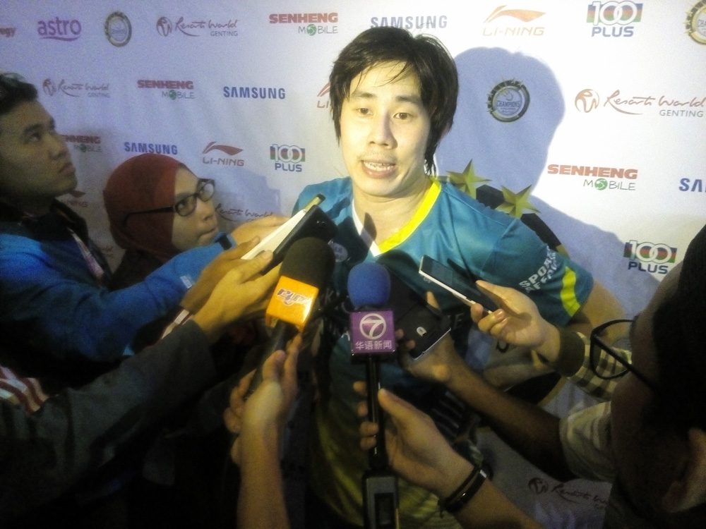 Tan Chun Seang's smashing 3-0 ( 11-8, 11-6, 11-2) win over Syed Akhbar Shah Mustakim in the second men's singles in the final match.