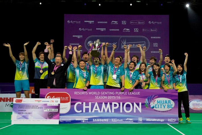 Muar City BC celebrating their win in the Resorts World Genting Purple League.