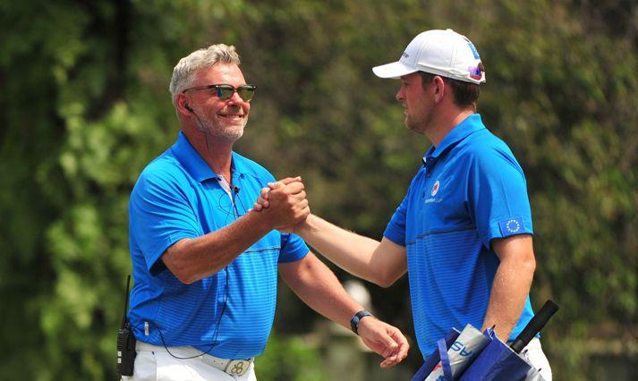 Darren Clarke celebrating with Bernd Wiesberger