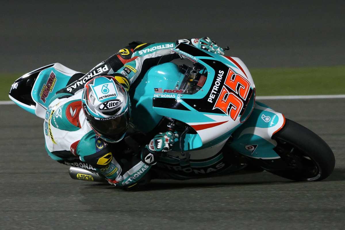 Hafizh Syahrin during the Moto2 race in Qatar.
