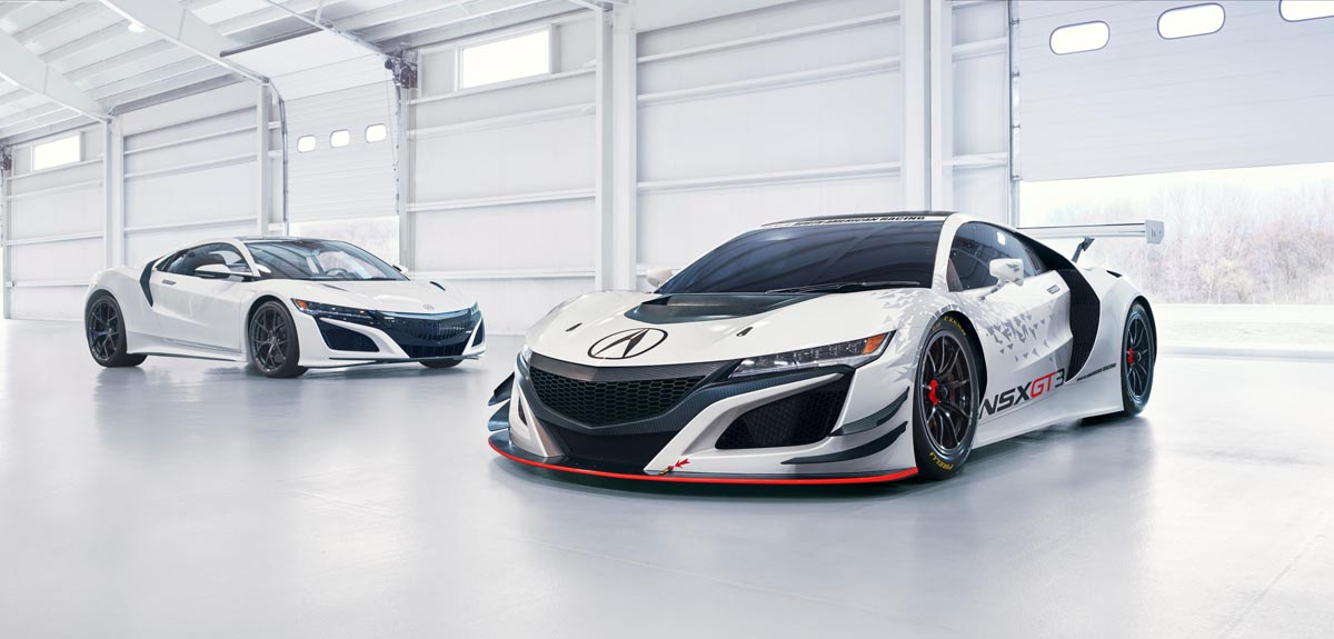 The unveiled Acura NSX GT3 racecar featured custom bodywork and aero components including a large deck wing spoiler, underbody diffuser and enlarged hood vents for efficient engine cooling.