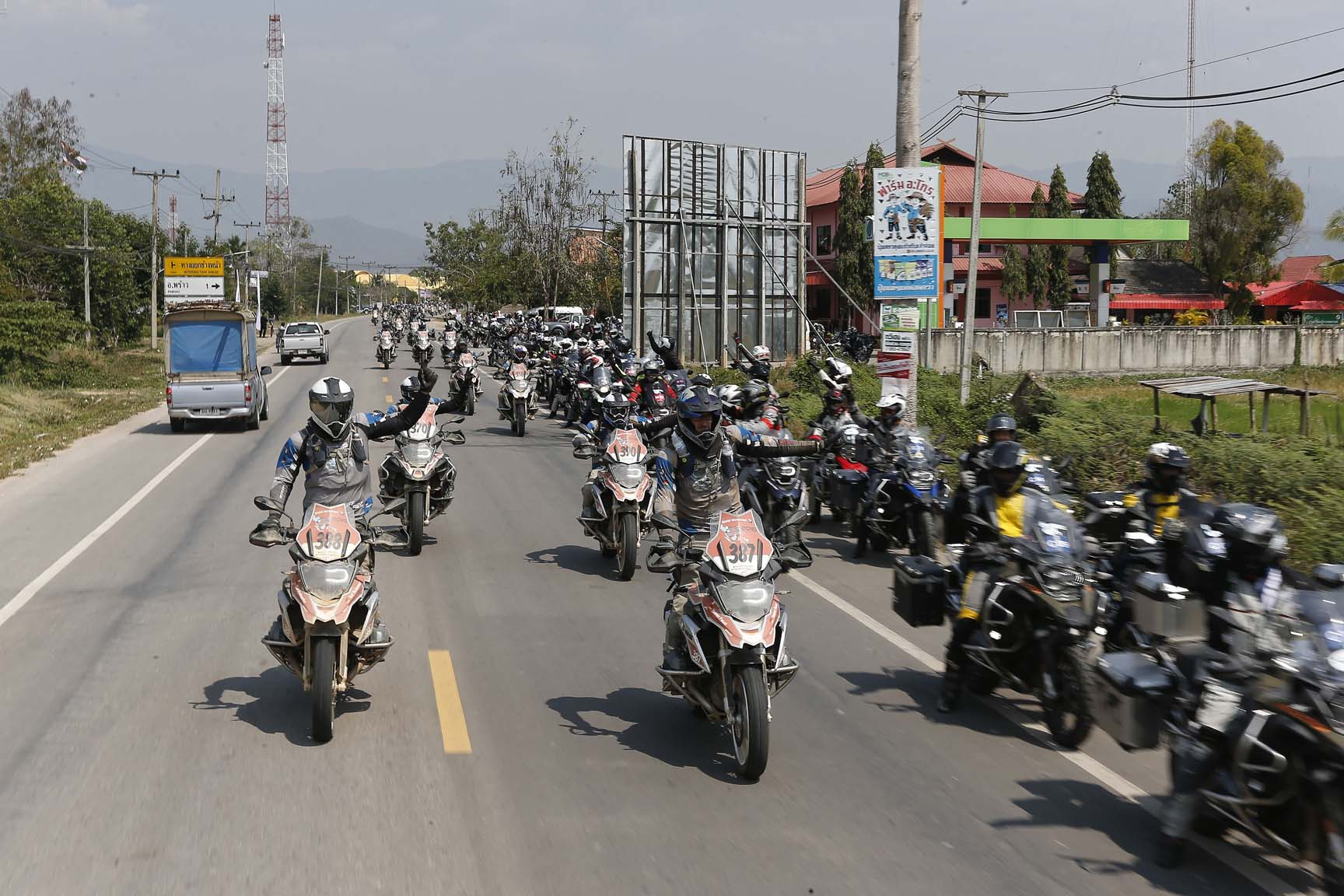 Around 100 riders from Thailand, Malaysia and China, who had travelled in on their BMW bikes to support the GS Trophy.