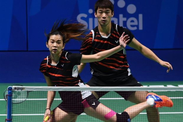 Malaysia's mixed doubles pair Goh Liu Ying (left) and Chan Peng Soon in action at the recent Singapore SEA Games.