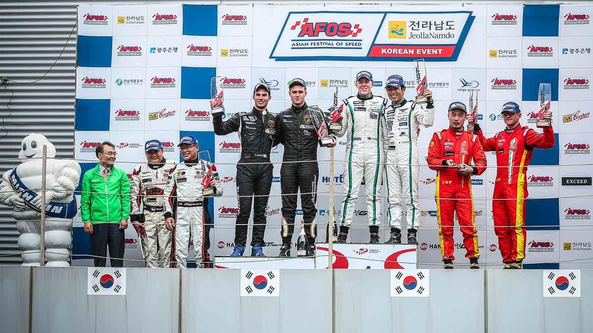 2016 GT Asia Series Korea International Circuit-South Korea Podium Winner from left; Amici/Liberati (FFF Racing Lamborghini Huracan GT3) +6.949, Sawa/Venter (Absolute Racing Bentley Continental GT3) 28 laps, Liu/Rizzo (BBT Ferrari 488 GT3) +19.156