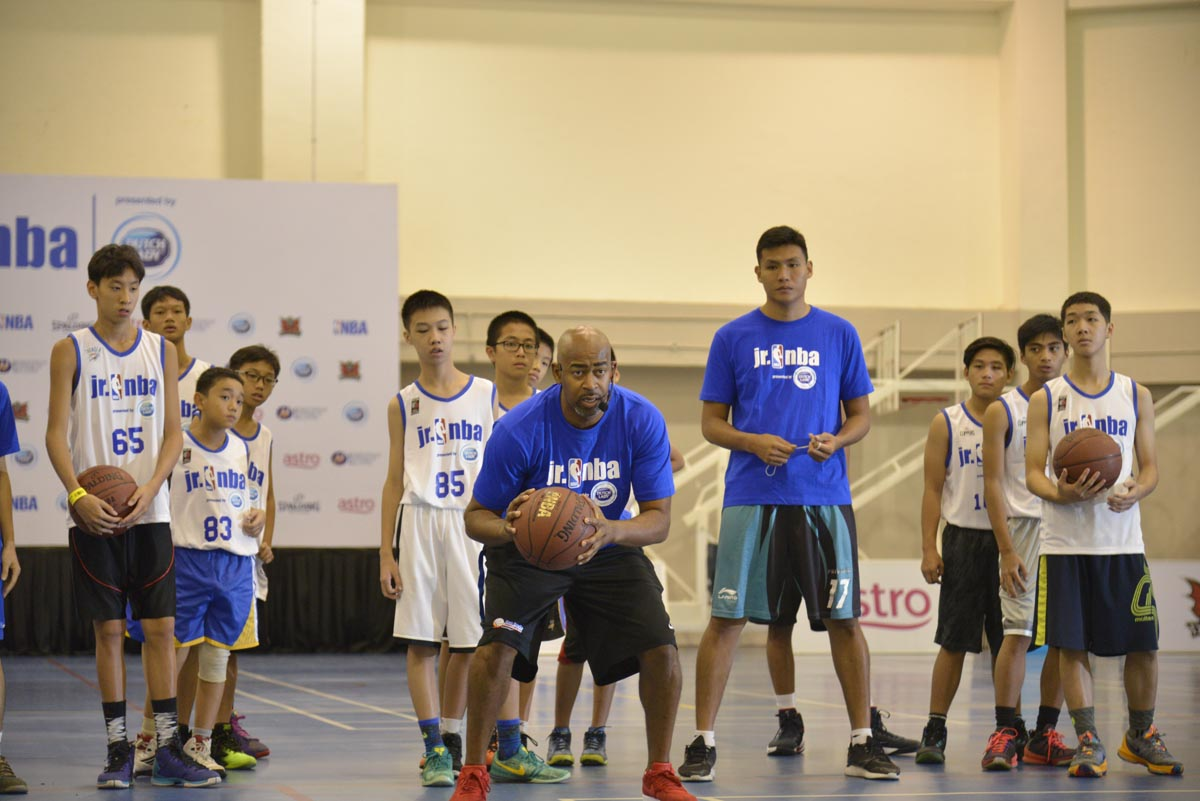 Craig Brown, Jr. NBA 2016 Head Coach, leading the warmup session at Jr. NBA Malaysia 2016 presented by Dutch Lady Regional Selection Camp.