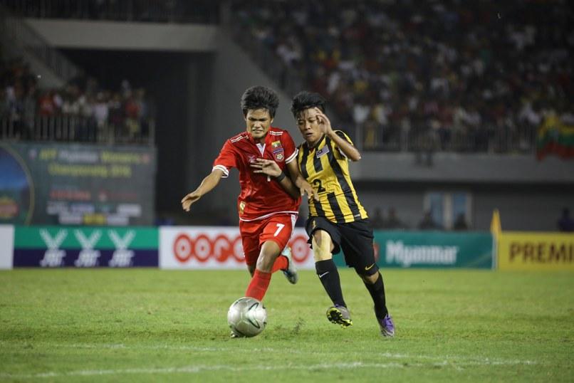 Win Theingi Tun (Mya) and Angela Kais (Mas). Win scored the winning goal