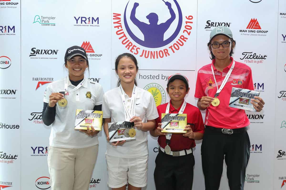 Winners of the MYFutures Junior Tour. From left NurSyazani Amalia MohdShahzan, Ashley Chin Yen Ling,Rizq Adam bin Rohizam and Chan Kai Zhane.