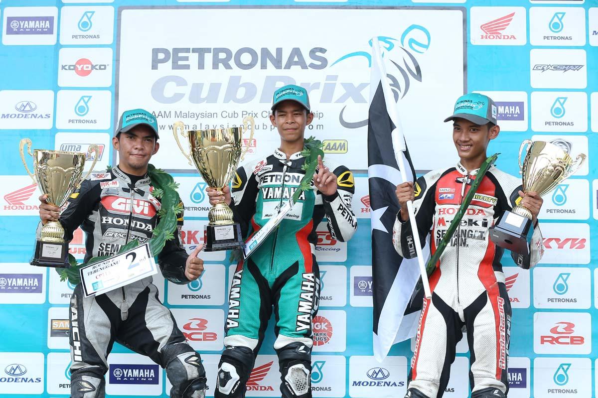 2016 PETRONAS AAM Malaysian Cub Prix Championship Terengganu Round CP115 podium winner.From left; Md Amirul Ariff Musa, Md Akid Aziz & Md Anil Md Ali