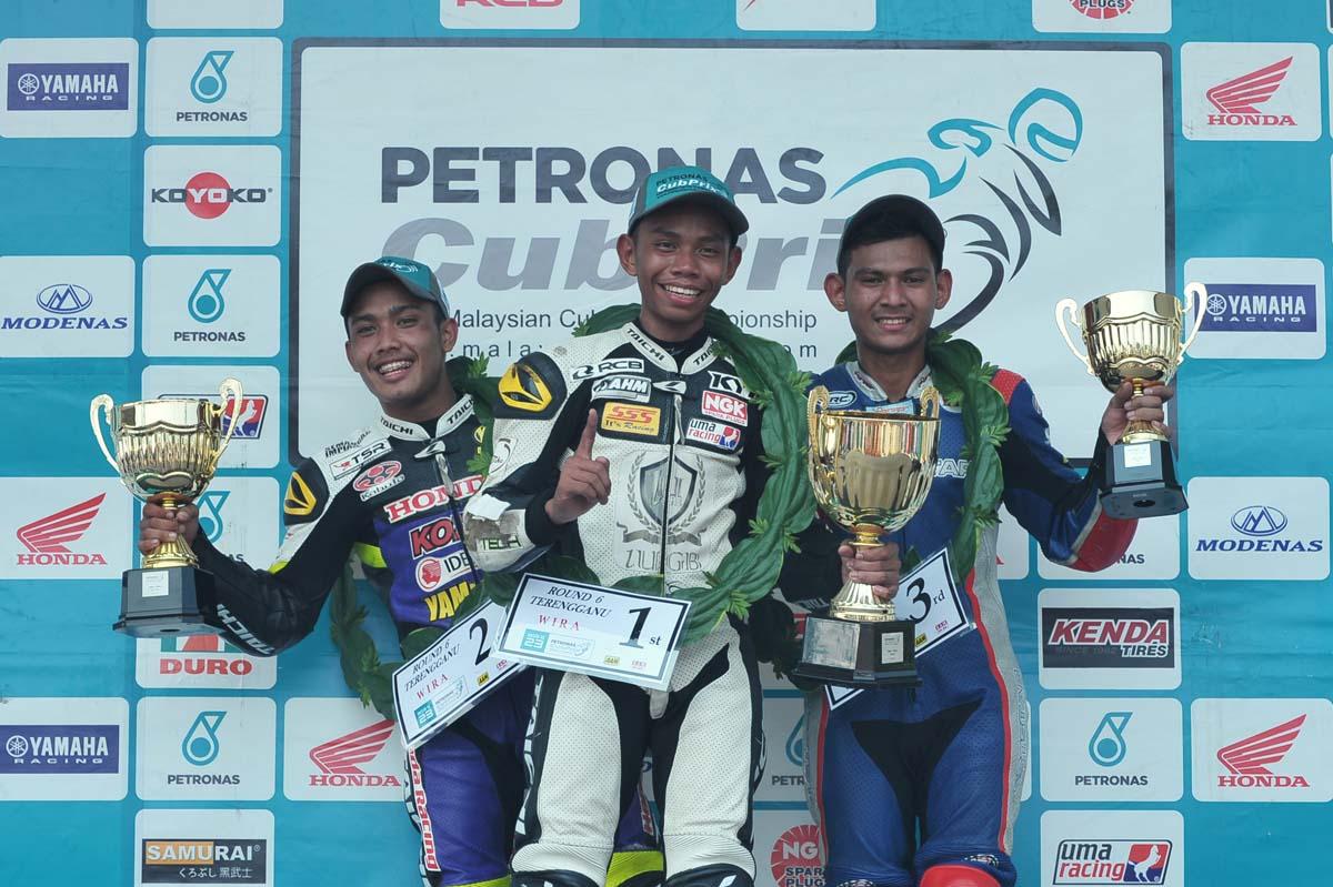 2016 PETRONAS AAM Malaysian Cub Prix Championship Terengganu Round WIRA podium winner.From left; Md Shafiq Ezzariq, Md Helmi Azman & Md Qhuwarismi Md Nasir.