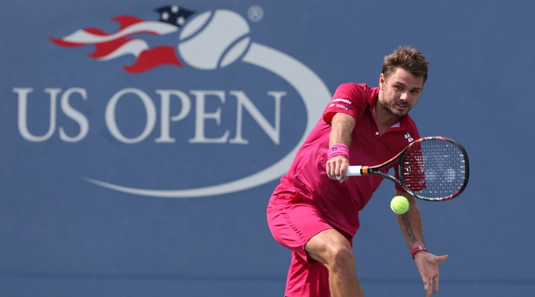 Sep 5, 2016; New York, NY, USA; Stan Wawrinka of Switzerland hits a shot to Illya Marchenko of Ukraine on day eight of the 2016 U.S. Open tennis tournament at USTA Billie Jean King National Tennis Center. Mandatory Credit: Jerry Lai-USA TODAY Sports