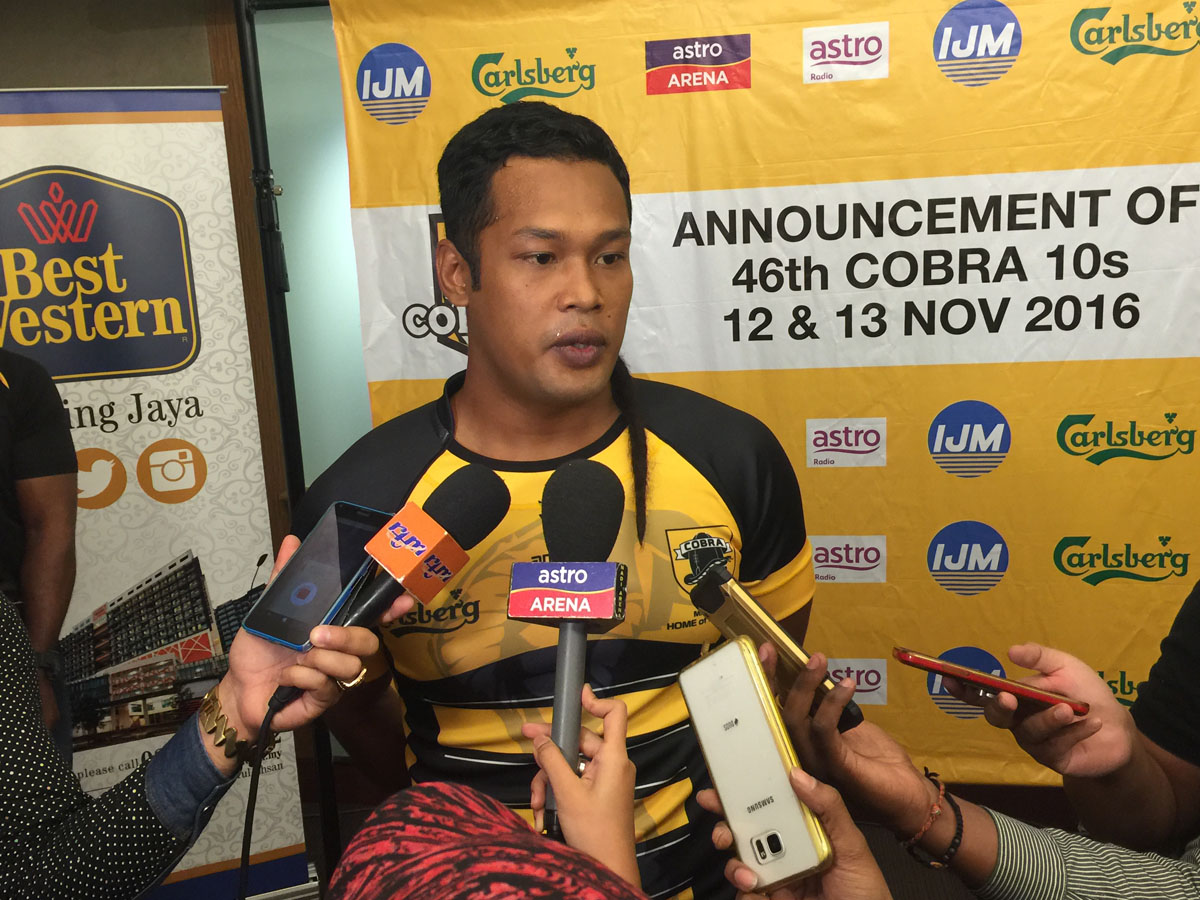 Bonzer yang turut hadir di majlis sidang media Kejohanan Ragbi Cobra 10s edisi ke46 yang telah berlansung di Hotel Best Western, Petaling Jaya.
